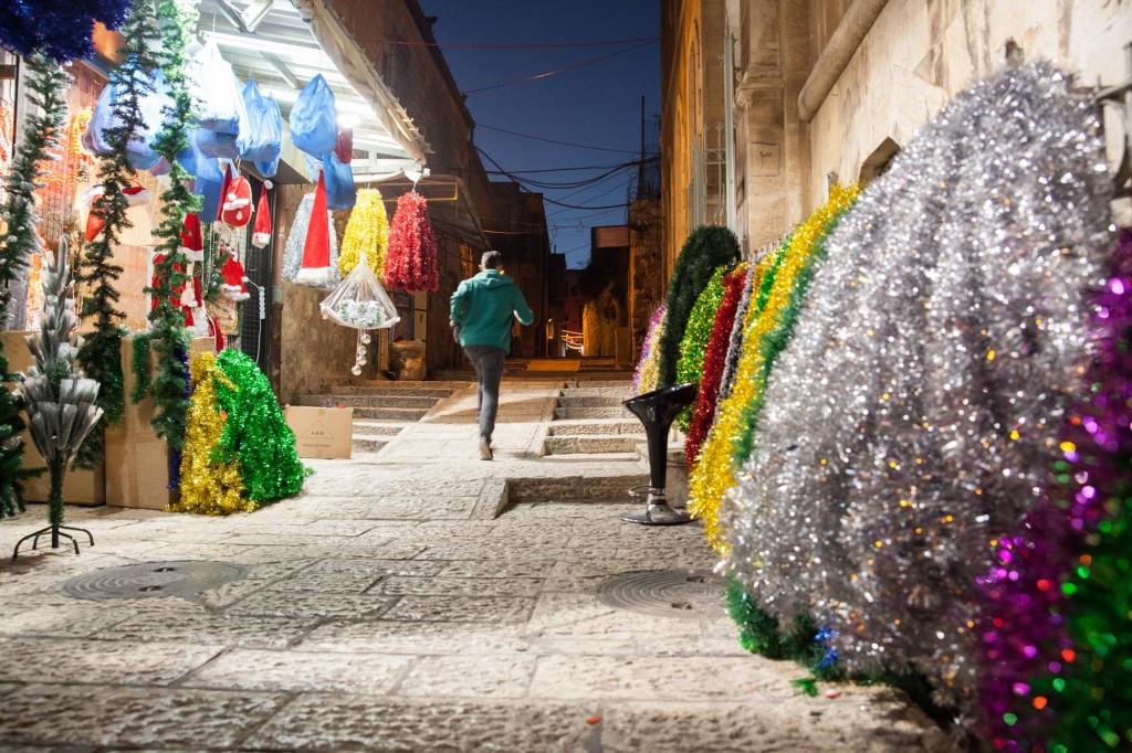 Jérusalem, la nuit, période de Noël